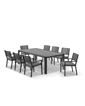 Tellaro Ceramic Table With Mayfair Chairs 9pc Outdoor Dining Setting
