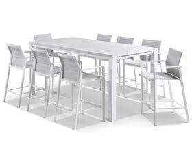 Adele Bar Table with Meribel Bar Stools - 9pc Outdoor Bar Setting
