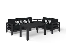 Aspen 5 Seater Low Dining -Charcoal / Sooty