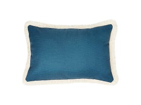 Teal Summer Cushion with Retro Fringe in Natural-60 x 60