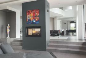 Axis H1600 Double Sided Wood Burning Fireplace