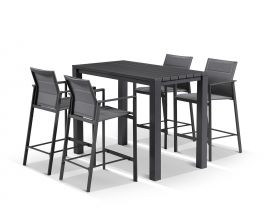Adele Bar Table with Meribel Bar Stools - 5pc Outdoor Bar Setting
