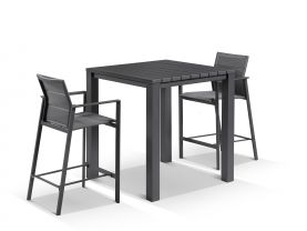 Adele Bar Table with Meribel Bar Stools - 3pc Outdoor Bar Setting