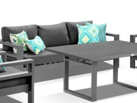 Aspen 4pc Outdoor Aluminium Lounge Dining Setting
