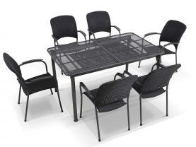 Tavio Extension table with Carlo Wicker Chairs -11pc Outdoor Setting