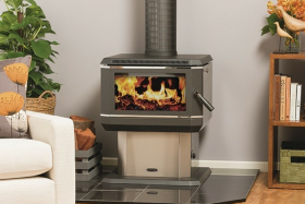 Coonara Midi Freestanding Wood Burning Fireplace in Stainless Steel