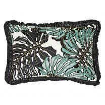 South Pacific Cushion with Retro Fringe in Black -35 x 50