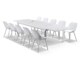 Mona Ceramic Extension Table with Galati Chairs -11pc Outdoor Dining Setting
