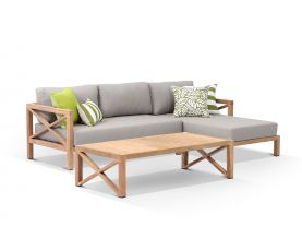 Hampton 3 Seater Teak Outdoor Chaise Lounge Setting