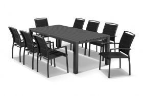 Adele 9pc Dining Setting - 240x105 Table with 8 Verde Dining Chairs in Charcoal/Black