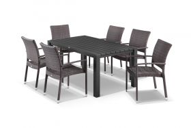 Adele 7pc Dining Setting - 165x95 Table with Lucerne 6 Arm Dining Chairs in Lavash