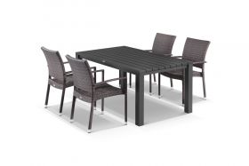 Adele 5pc Dining Setting - 165x95 Table with Lucerne 4 Arm Dining Chairs in Lavash