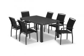Adele 7pc Dining Setting - 165x95 Table with 6 Verde Dining Chairs in Charcoal/Black