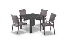 Adele 5pc Dining Setting - 95x95 Table with Lucerne 4 Arm Dining Chairs in Lavash