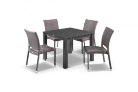 Adele 5pc Dining Setting - 95x95 Table with Lucerne 4 Armless Dining Chairs in Lavash