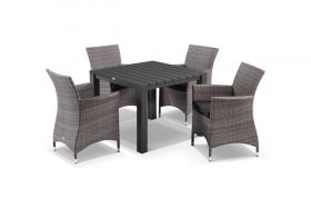Adele 5pc Dining Setting - 95x95 Table with 4 Mateus Dining Chairs in Lavash/Coal