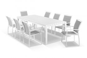 Adele 9pc Dining Setting - White 240x105 Table with 8 Verde Dining Chairs in White/Grey