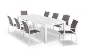 Adele 9pc Dining Setting - White 240x105 Table with 8 Verde Dining Chairs in White/Mocha