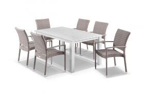 Adele 7pc Dining Setting - 165x95 Table with Lucerne 6 Arm Dining Chairs in Elk