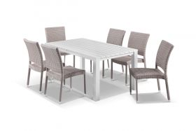 Adele 7pc Dining Setting - 165x95 Table with Lucerne 6 Armless Dining Chairs in Elk