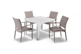 Adele 5pc Dining Setting - 95x95 Table with Lucerne 4 Arm Dining Chairs in Elk