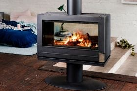 Invicta Nelson Double Sided Freestanding Wood Burning Fireplace