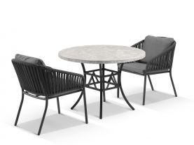 Luna 100cm Round Table with Java Chairs 3pc Outdoor Dining Setting