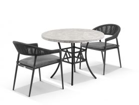 Luna 100cm Round Table with Nivala Chairs 3pc Outdoor Dining Setting