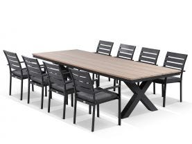 300cm Fox greywash teak outdoor dining setting