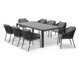 Tellaro Ceramic  Extension Table With Java Chairs 13pc Outdoor Dining Setting