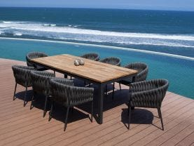 Marseille 340 Extension table with Palm Chairs - 9pc Outdoor Dining Setting