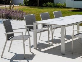 Mona Ceramic Table with Sevilla Padded Chairs -9pc Outdoor Dining Setting