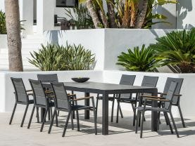 Danli Ceramic Table with Sevilla Teak Arm Chairs 9pc Outdoor Dining Setting