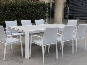 Tellaro 13pc Dining Setting - 220-340x106 Table with 12 Palmetto Dining Chairs in White/Grey