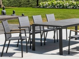 Mona Ceramic  Table with Sevilla Teak Arm Chairs -9pc Outdoor Dining Setting