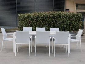 Tellaro 9pc Dining Setting - 220x100 Table with 8 Palmetto Dining Chairs in White/Grey