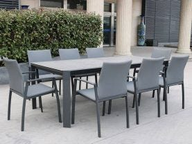 Tellaro 13pc Dining Setting - 220-340x106 Table with 12 Palmetto Dining Chairs in Charcoal/Dark Grey