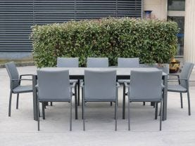 Tellaro 9pc Dining Setting - 220x100 Table with 8 Palmetto Dining Chairs in Charcoal/Dark Grey