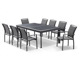 Barton Extension Table with Verde  Chairs -  11pc Outdoor Setting