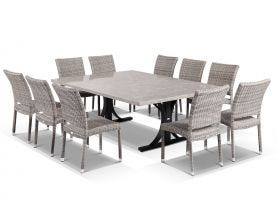 Luna 210cm Table with  Lucerne Armless Chairs -11pc Outdoor Dining Setting