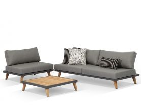 Sorrento 3pc Outdoor Platform Lounge Setting in Charcoal/Sunbrella Natte Charcoal Chine