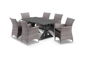 Vogue 7pc Dining Setting - 165x89 Table with 6 Mateus Dining Chairs in Lavash/Coal