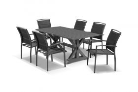 Vogue 7pc Dining Setting - 165x89 Table with 6 Verde Dining Chairs in Charcoal/Black