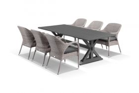 Vogue 7pc Dining Setting - 220x100 Table with 6 Essex Dining Chairs in Moonscape/Sunbrella Canvas Coal
