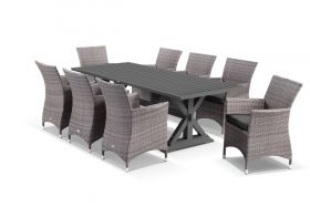 Vogue 9pc Dining Setting - 220x100 Table with 8 Mateus Dining Chairs in Lavash/Coal