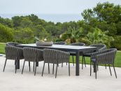 Danli Ceramic Table with Palm Dining Chairs 9pc Outdoor Dining Setting