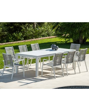 Danli Ceramic Table with Sevilla Rope  Chairs 9pc Outdoor Dining Setting