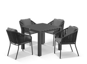 Adele Table with Java Chairs 5pc Outdoor Dining Setting