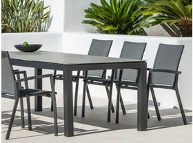Danli Ceramic Table with Sevilla Chairs 7pc Outdoor Dining Setting