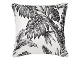 Palm Tree Cushion with Piping in Black- 60 x 60